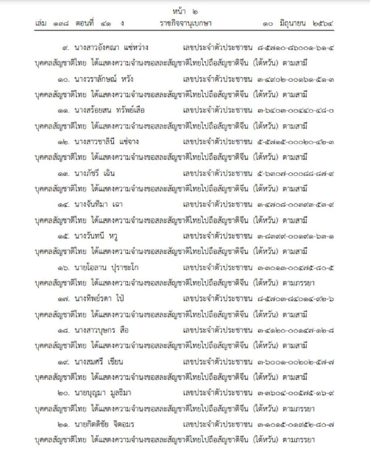 ราชกิจจานุเบกษา ออกประกาศเผยแพร่ เสียสัญชาติไทย จำนวน 31 ราย