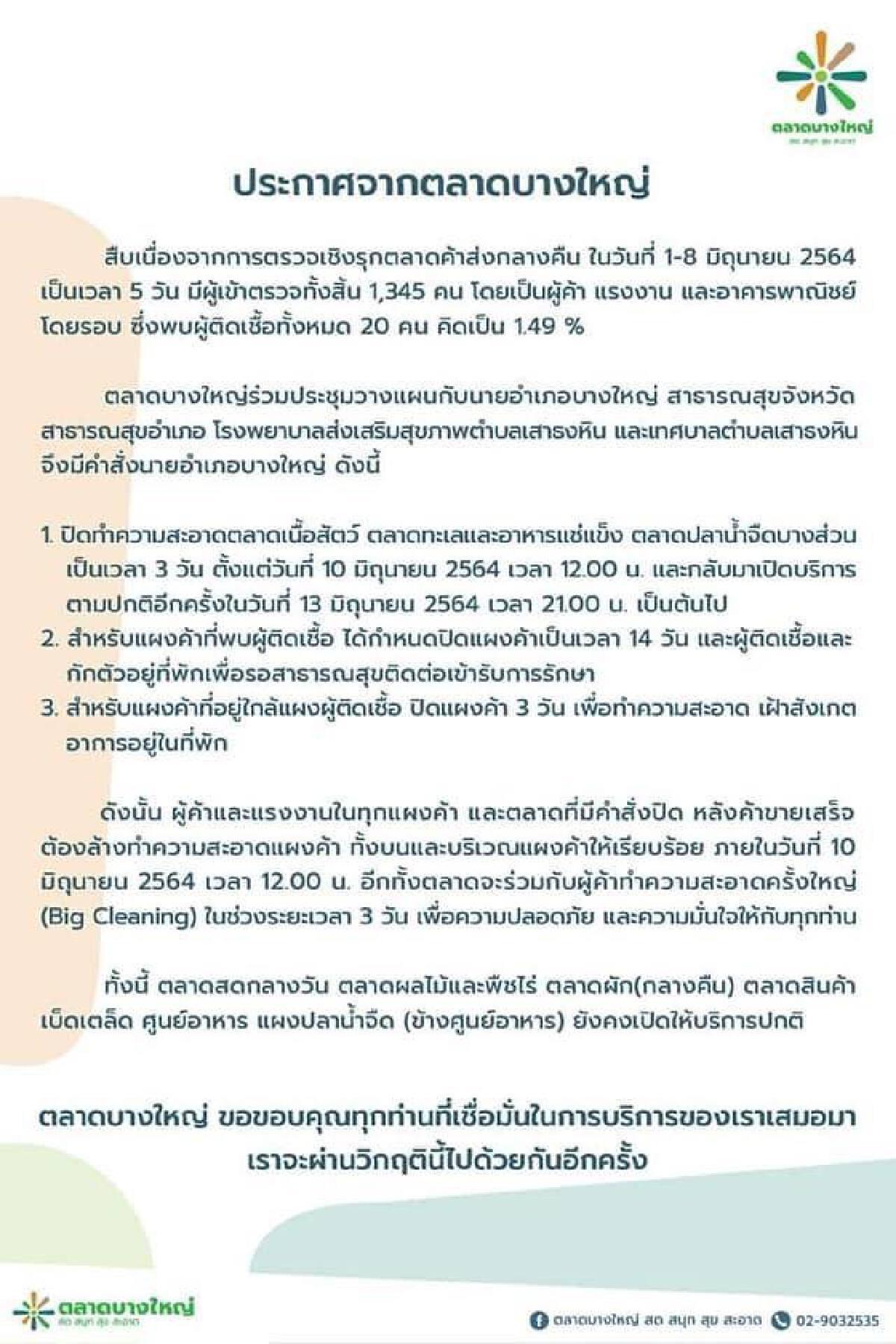 นนทบุรี สั่งปิดตลาดบางใหญ่3วัน เเผงค้าที่พบผู้ติดเชื้อโควิดให้ปิด14วัน