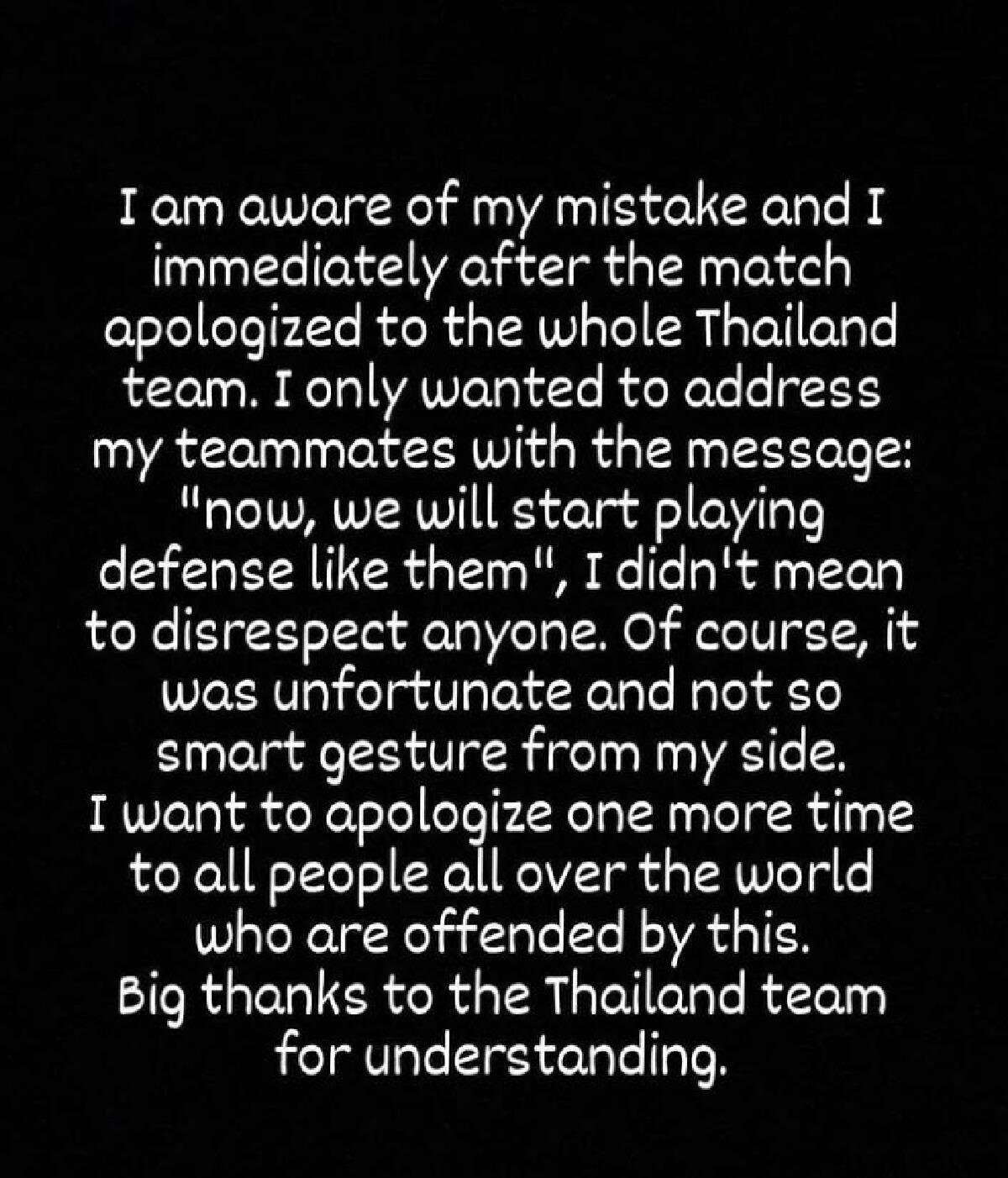 ลิโบโร่ทีมชาติเซอร์เบีย ร่ายยาวขอโทษคนไทย ปมใช้มือสองข้างดึงหางตาขึ้น