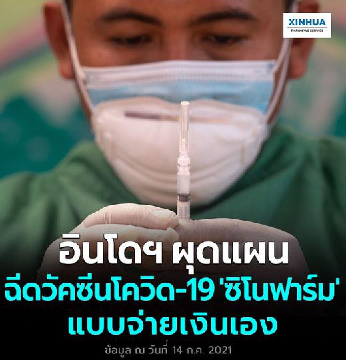 อินโดนีเซีย ผุดแผนฉีดวัคซีนโควิด-19 ซิโนฟาร์ม แบบจ่ายเงินเอง
