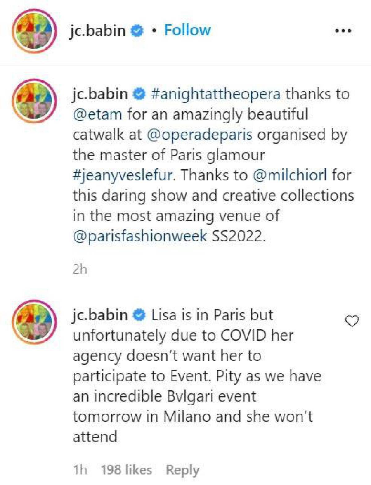 Jean-Christophe Babin ซีอีโอของ BVLGARI ได้โพสต์บนอินสตาแกรมแจงดราม่า YG ห้าม ลิซ่า  BLACKPINK  ร่วมงาน BVLGARI